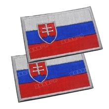 Словацкий национальный флаг вышивка нашивка Словакия вышитая нашивка военного типа тактическая повязка на руку вышивка для одежды Швейные Аппликация