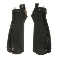 1 paire guêtres d'équitation en cuir souple demi-Chaps noir XXS/XS/S/L/XL/XXL/XXXL pour accessoires d'équitation en plein air