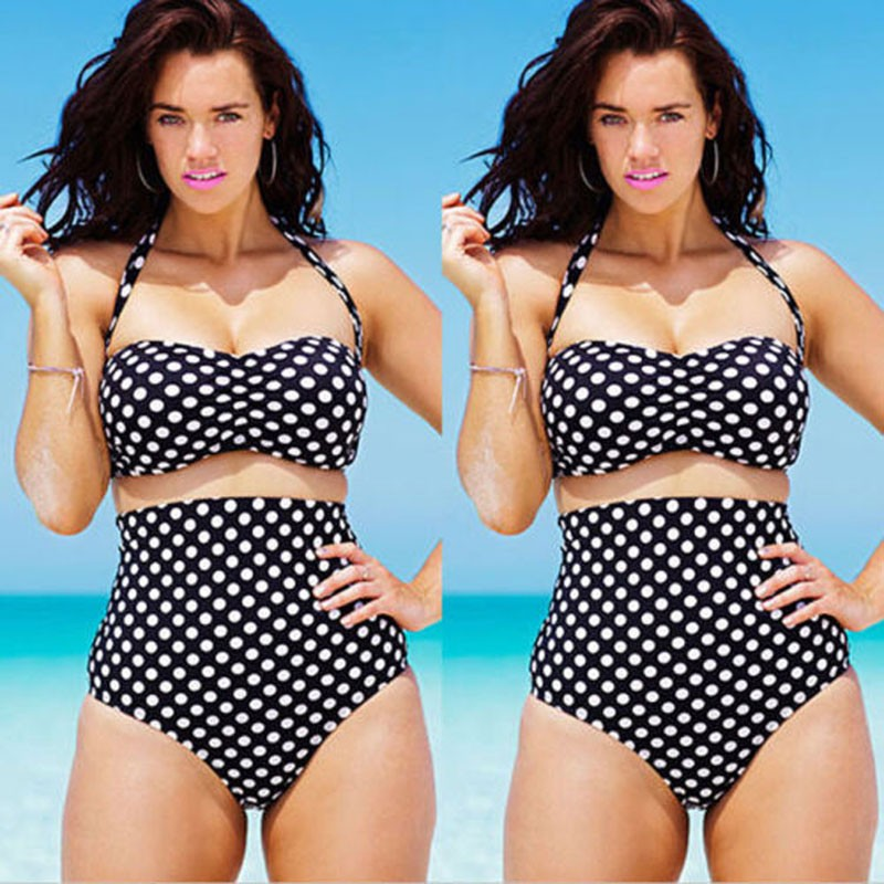 2018 New Summer Push Up Bikini Sexy Womens Swimsuits Polka Dot Biquini Plus Size Swimwear Female Large Size High Waist Swimsuit