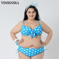 VINIKNIKA Large Size Dotted Bikini Bows Split Swimsuit Swimwear Summer Women Bikini Suit Push Up Biquinis