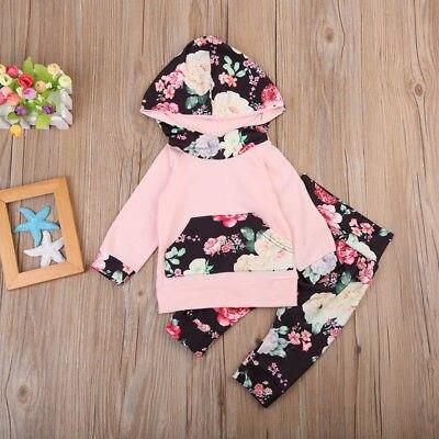 Newborn Kids Infant Outfit Clothes Set Baby Boy Girls Cotton Floral Long Sleeve Hoodies T-shirt Tops+Pants 2Pcs Clothes Gift Set