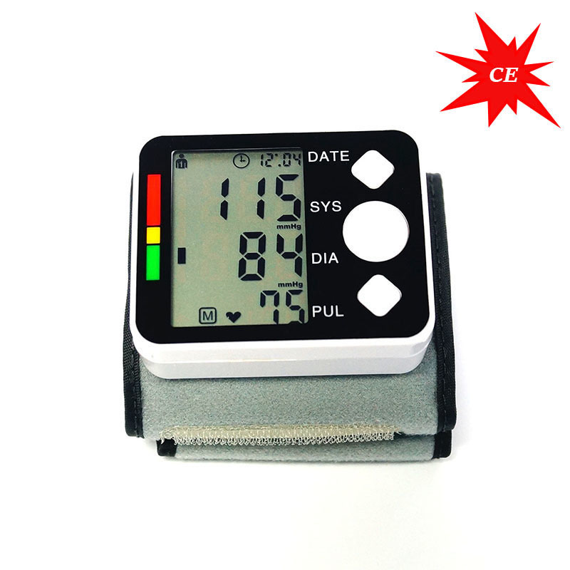Digital Tensiometer Tonometer On Wrist Manchet Lcd-scherm Pols Bloeddrukmeter Apparaat Hart Hartslag Meter
