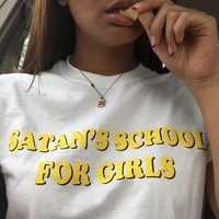 HAHAYULE 1 stücke gelb gedruckt t-shirt Satan Schule Für Mädchen Frauen 90 s Ästhetischen Tumblr Grunge T-Shirt Buchstaben Gedruckt T