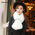 New Women Warm Fox Faux Fur Scarves High Quality Fur Collar with Diamond Button Winter Wraps Fashion Solid Scarf free shipping