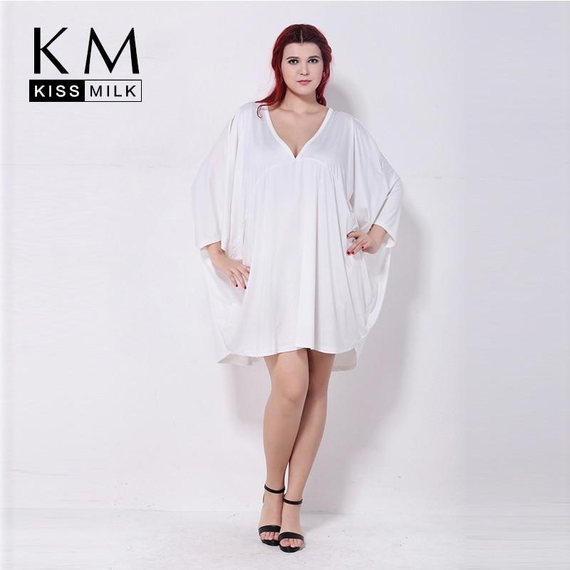 Kissmilk Plus Size Summer Fashion Women 3/4 Quarter Sleeve V-Neck Big Size Loose Solid Casual Cape Top T-shirt 3XL 4XL 5XL 6XL