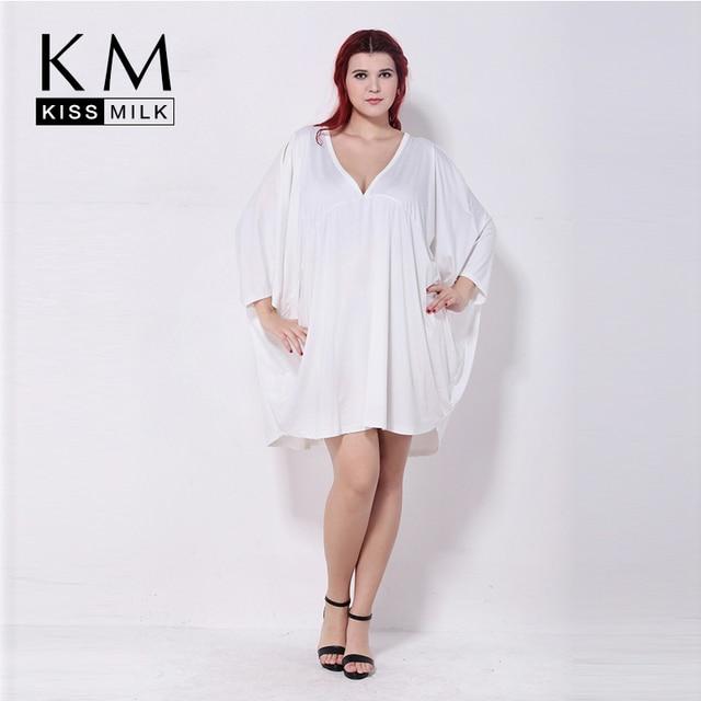 6a9145fbf0ab Kissmilk Plus Size Summer Fashion Women 3 4 Quarter Sleeve V-Neck Big Size  Loose Solid Casual Cape Top T-shirt 3XL 4XL 5XL 6XL