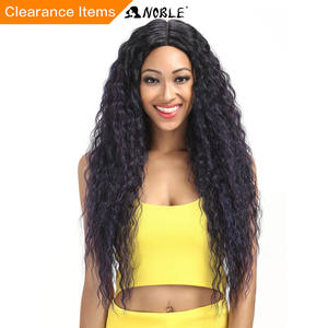 Noble Wig Hair-Products Lace Cosplay Long Wavy Black Synthetic Women 28inch for I-Part