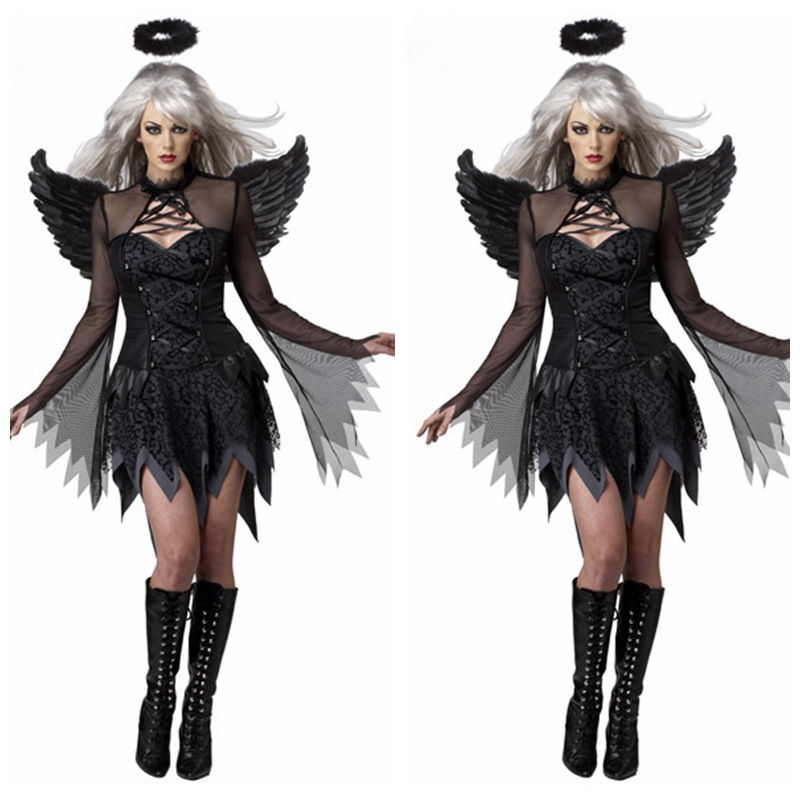 Free shipping ,halloween party black night dark angel devil dress feather wing headband witch costume