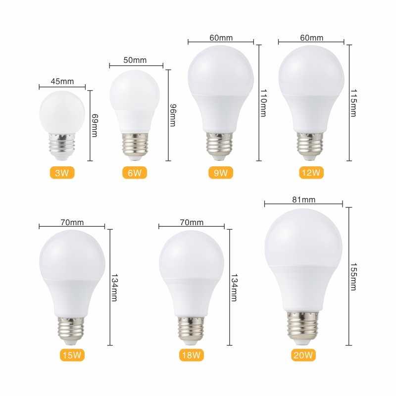 6 шт. светодиодный лампы E27 светодиодный лампада ампулы Bombilla 3 Вт, 6 Вт, 9 Вт, 12 Вт, 15 Вт, 18 Вт, 20 Вт светодиодный потолочный светильник 220V машина для изготовления холодного/теплый белый SMD2835 светодиодный светильник s