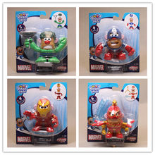 4pcs/lot Mr Potato Head Figures Toy Mr. Potato Cosplay Avengers Captain America Spider Man Iron Man PVC Toys with Retail Box(China)