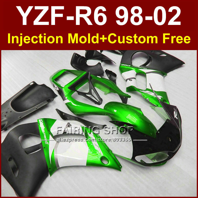 89D3 Low price fairing parts for YAMAHA fairing kit YZF R6 98-02 green custom fairing YZF R6 1998 1999 2000 2001 2002 HG8V