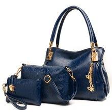2017 new European and American fashion type three piece suit bag women handbag shoulder bag lady casual wave hand  messenger bag