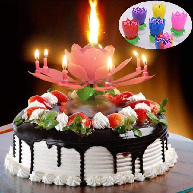 Double Layers Lotus Birthday Candle With Music Rotating Happy Song Pink