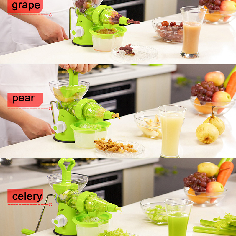 LUCOG Multifuctional Kitchen Manual Hand Crank Single Auger Juicer with Suction Base Hand Juicer for Wheatgrass Fruit Vegetable
