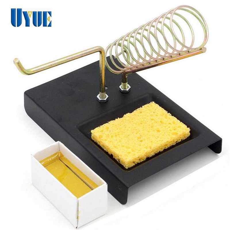 Hot Sale Double Metal Base Soldering Iron Gun Holder Stand Mount Support Station + Sponge Cast Iron + Rosin Factory Wholesale hot sale fashion hot sale coconut palm iron wall hanging basket