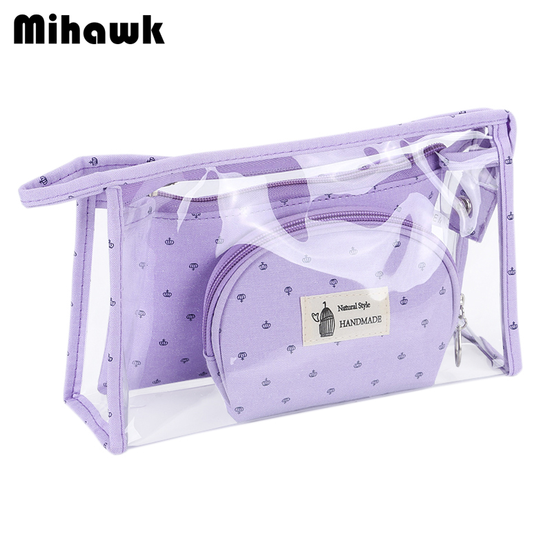 все цены на Mihawk 3 Pcs/Set Multifunction Cosmetic Bag Storage Case Holder Zipper Portable Travel Make Up Storage Organizer Container онлайн