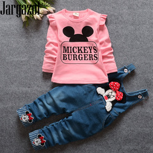 Toddler Girls Clothes Cartoon Mickey Printed Long Sleeve Tops&minnie Hello Kitty Embroidery Overalls Fall Kids Clothing Set