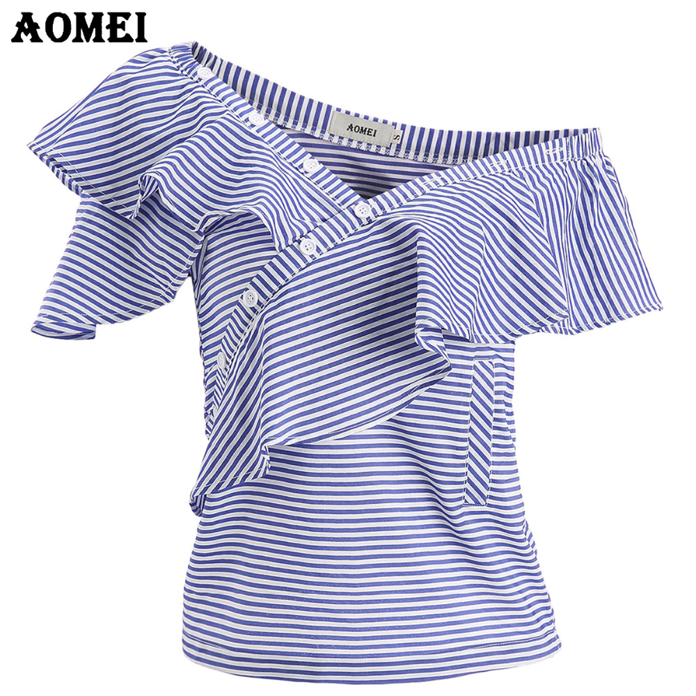 Blue Stripe Sleeveless Women Fashion Summer Blouse and Shirts 2018 New Slim Tops with Ruffles Trim One Shoulder Sexy Blusas