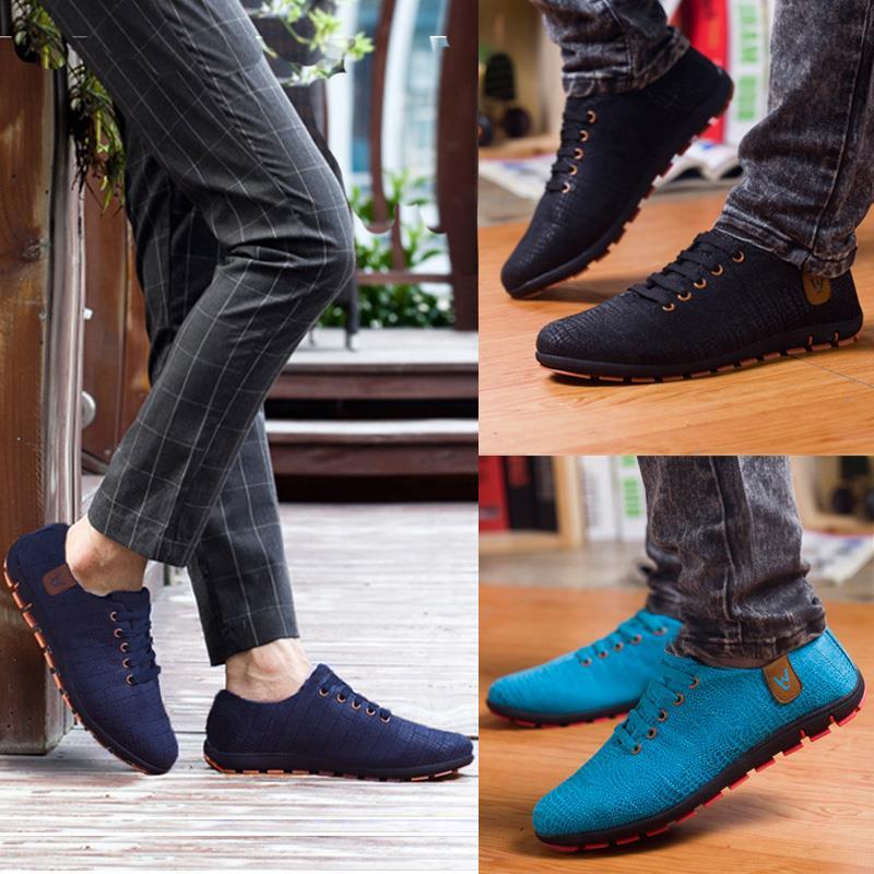 Printemps/chaussures d'été hommes Respirant Hommes Chaussures décontracté Mode Bas à lacets chaussures de toile Appartements Zapatillas Hombre grande taille 45,46, 47 - 6
