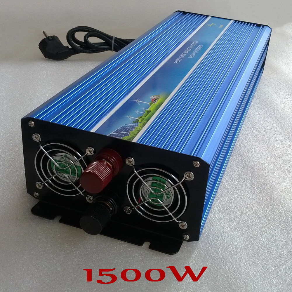 1500W Off Grid Pure Sine Wave Output Inverter 12V 24V DC to AC 240V 220V 110V Solar Wind Power Inverter with Battery Charger wind power generator 400w for land and marine 12v 24v wind turbine wind controller 600w off grid pure sine wave inverter