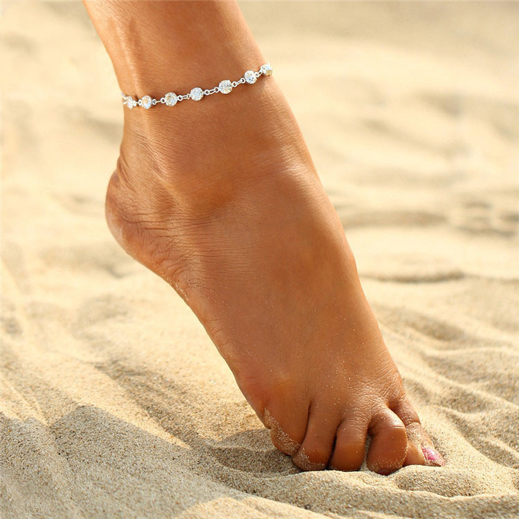 Fashion Foot Bracelet Bride Anklet Flash Bracelet For Women Girl Ankle Leg Jewelry Chain Charm Bracelet Summer Female Jewelry