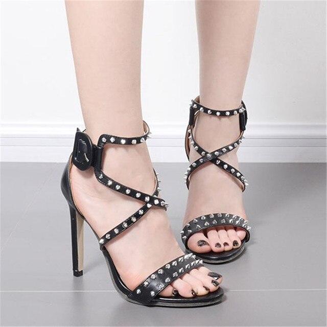 High Heels Sandals Metallic Strap 18Off punk 42 Thin Us56 Studded Stilettos In Strip Style Buckle Sandalias Summer Black Women Rivet Shoes qVLzpSUMG