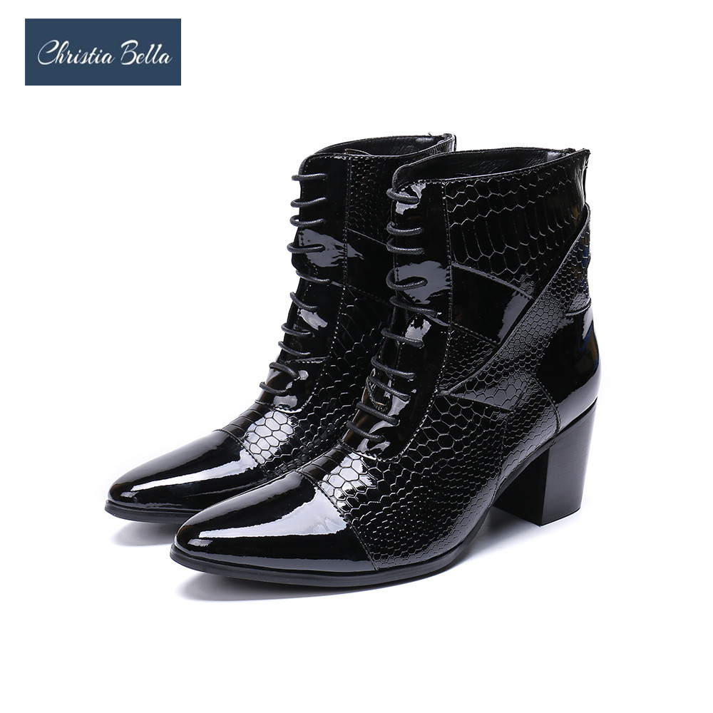 Christia Bella Limited Edition 7cm High Heel Men Boots Short Pointed Toe Leather Dress Boots Men Handsome Lace-up botas hombreChristia Bella Limited Edition 7cm High Heel Men Boots Short Pointed Toe Leather Dress Boots Men Handsome Lace-up botas hombre