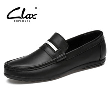Buy CLAX Mens Moccasins Genuine Leather 2019 Summer Man Loafers White Boat Shoe Male Leather Footwear Breathable directly from merchant!