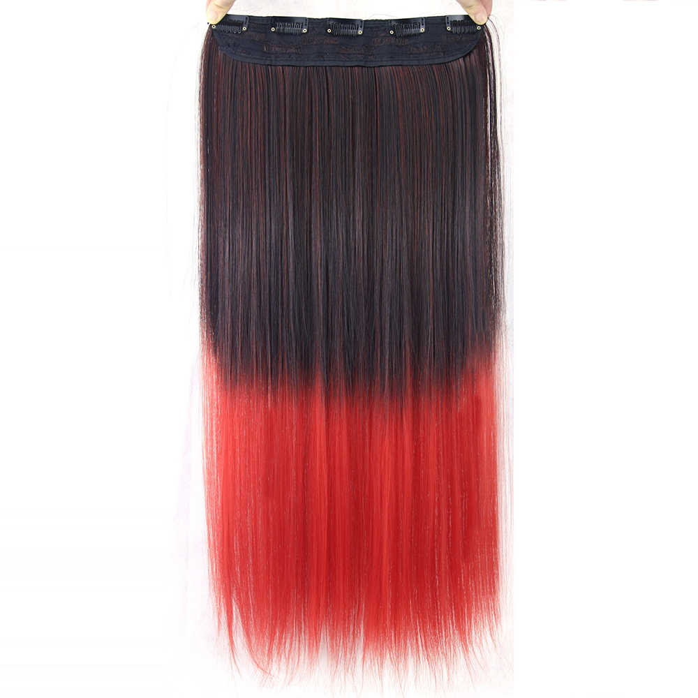 Soowee Black To Red Synthetic Hair Straight Clip In Hair Extensions Hairpins Ombre Hair Hairclip Hair On Barrettes False Strands