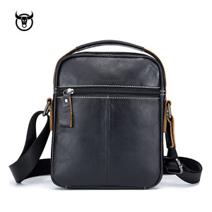 Image 4 - Yeni hakiki deri erkek Crossbody omuzdan askili çanta Vintage inek derisi askılı çanta için erkek küçük gündelik çanta