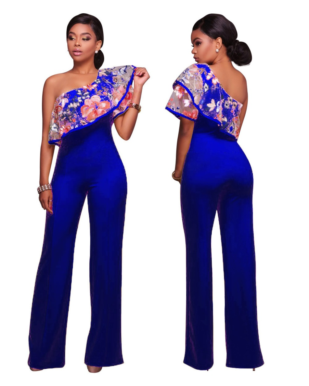463cc1c7bb48 Women Sexy One Shoulder Embroidery Jumpsuits Rompers Ladies Black Blue  Yellow Wide Leg Loose Night Club Fashion Jumpsuits