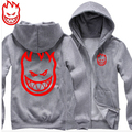 new  SPITFIRE WHEELS Skateboard Zombie Flaming Head Logo man men male thickening sweatshirt Hoodies cardigan