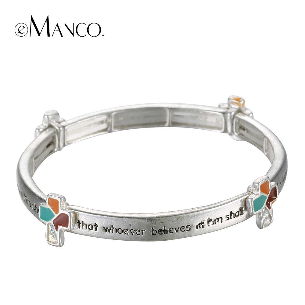 EManco della lega elastica del braccialetto dello smalto croce incisa bracciali per le donne argento antico placcato minimalista lettere gioielli a mano
