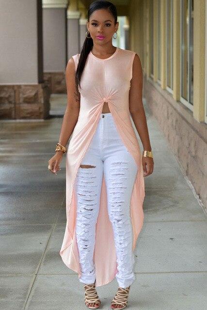 2016 Женщины Топы Новая Мода Повседневная Краткая Мода Светло-Розовый Длинные Высокий Низкий Топ GY60499