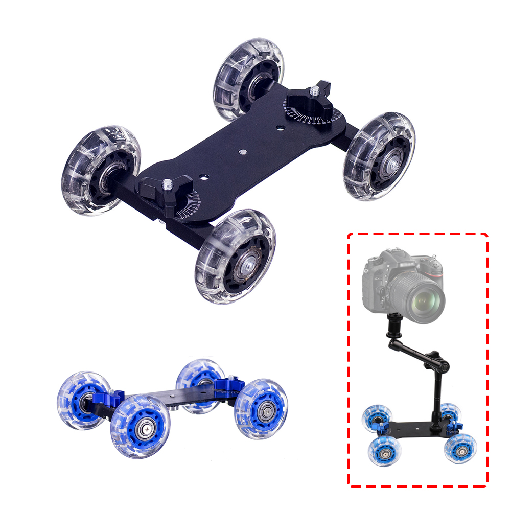 Dolly+11 Inch Magic Arm Tabletop Mobile Rolling Video Rail Skater for SLR DSLR Camera Slider Track Dolly Car With Magic Arm image