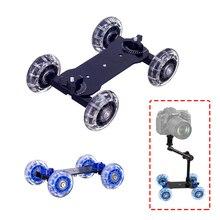 دوللي + 11 بوصة ماجيك الذراع Tabletop المحمول المتداول الفيديو السكك الحديدية المتزلج ل SLR DSLR حامل كاميرا متحرك المسار دوللي سيارة مع الذراع السحرية