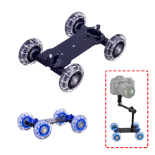 Dolly + 11 Inch Magic Arm Tafelblad Mobiele Rolling Video Rail Skater voor SLR DSLR Camera Slider Track Dolly Auto met Magic Arm