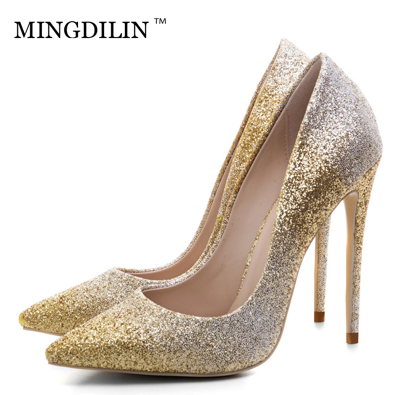 MINGDILIN Silver Gold Women's High Heels Shoes Sexy Plus Size 33 43 Woman Heel Shoes Pointed Toe Wedding Party Pumps Stiletto цена