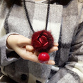 Girl's Gift Sweet Necklace Horsewhip Chain Flower Rose Necklaces Red Bead Pendant Dress Sweater Chains Autumn And Winter Style