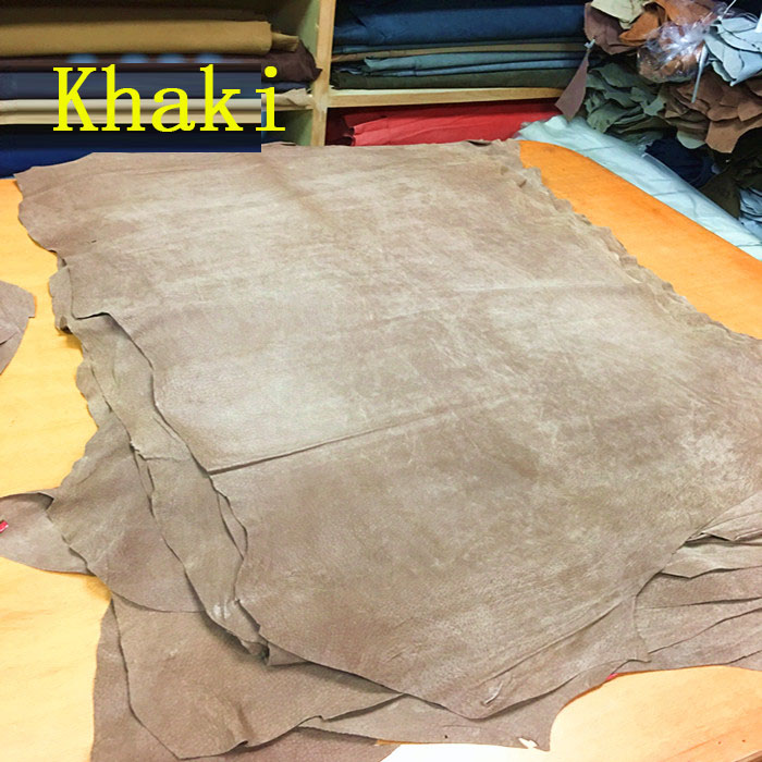 Khaki Genuine pig split   suede     leather   material whole piece