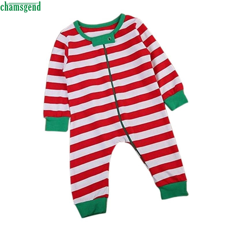 CHAMSGEND Newborn Baby Girl Christmas Long Sleeve Stripe Romper Jumpsuit Pajamas Outfits H30 OCT10