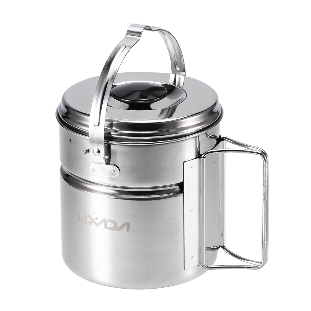 Lixada Stainless Steel Bail Handle Camping Pot with Internal Steaming Dish Foldable Handle Outdoor Tableware-in Outdoor Tablewares from Sports & Entertainment