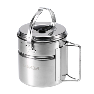 Image 1 - Lixada Stainless Steel Bail Handle Camping Pot with Internal Steaming Dish Foldable Handle Outdoor Tableware