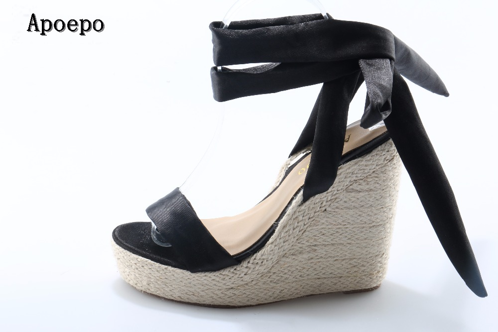 Apoepo Brand Black Ribbon Wedge Sandal 2018 Sexy open toe rope braided platform sandal for woman super high lace-up shoes apoepo fashion patent leather wedge sandal for woman super high ankle strap platform shoes rope braided buckle strap summer shoe