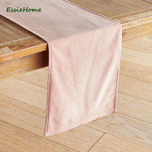ESSIE HOME Pink Blush Pink Baby Pink Double Side Matte Velvet High End Table Runner Table Cloth Table Runner Placemat