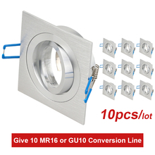 square aluminum led downlight fixture for MR16 GU10 base holder frame rotable led spotlight fittings for dia 50mm Halogen lamp three heads grille light fixture square ceiling downlight cups for gu10 mr16 gu5 3 spot lamps halogen mr11 holder white aluminum