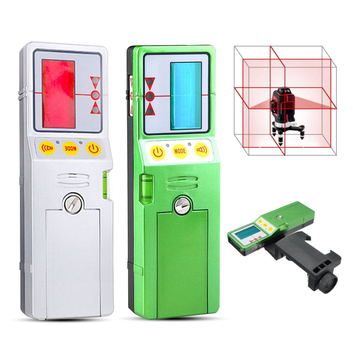 12 Line 3D Laser Level Detector Receiver Red Green Line Vertical with Clamp FD-9/FD-9G kapro clamp type high precision infrared light level laser level line marking the investment line