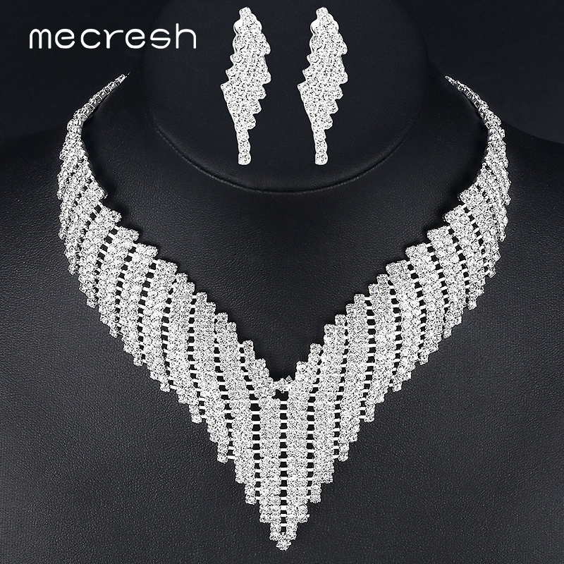 Mecresh Crystal African Jewelry Sets Silver Color Geometric Rhinestone Bridal Necklace Sets for Wedding Party Christmas TL011 parking barrier gate system electric up and down boom barrier gate for vehicle access restrictions or safety checks