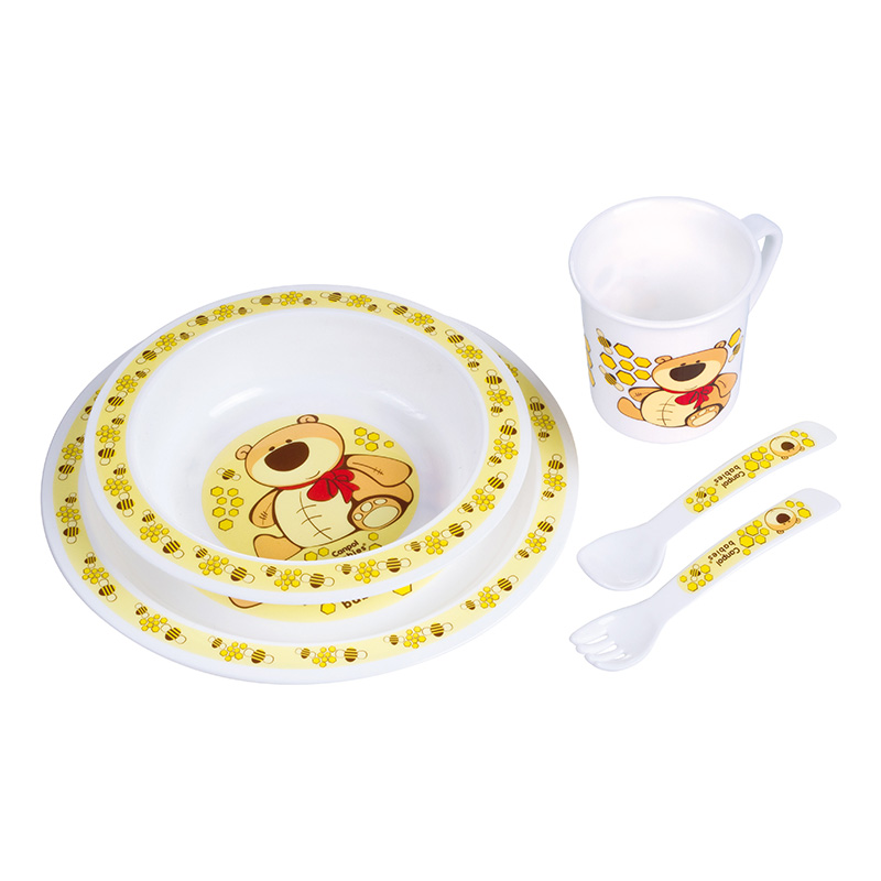 Dish Canpol Babies Plastic Dining Set Yellow, 12 month + feedkid