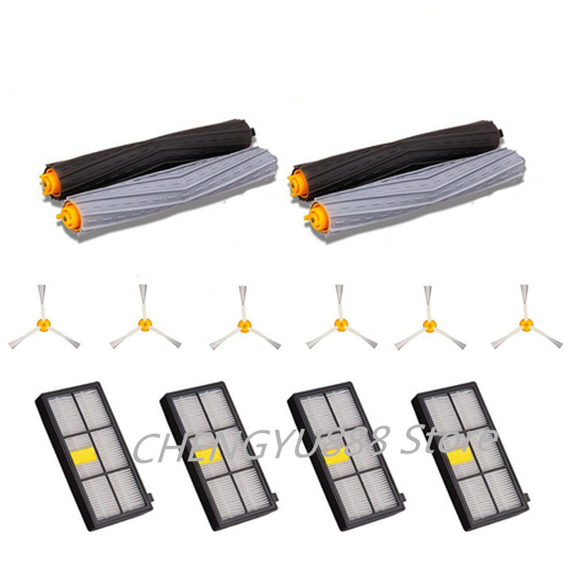 2 pairs of roller brushes + 6 * side brush + 3 * filter Suitable for replacement iRobot roomba 800/960/980 Vacuum cleaner parts 14pcs free post new side brush filter 3 armed kit for irobot roomba vacuum 500 series clean tool flexible bristle beater brush